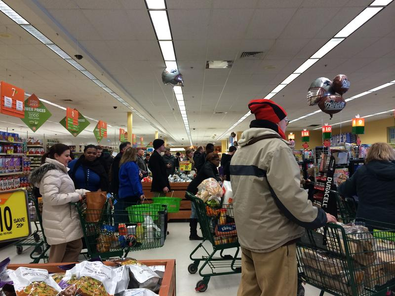 Residents stocking up Monday afternoon at the Shaw's in No. Providence.