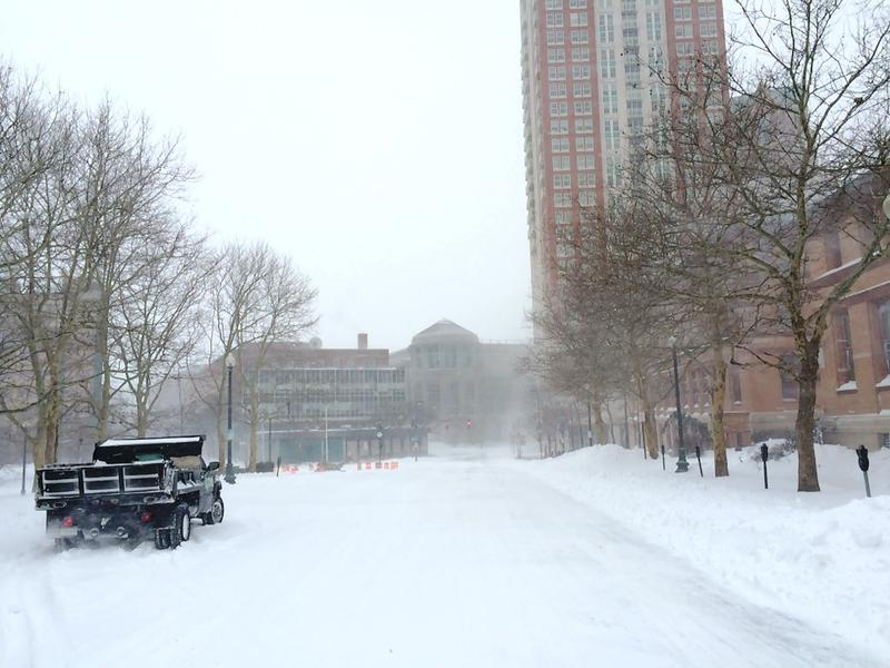 Plows already clearing streets in Downtown Providence around 9:30 Tuesday morning.