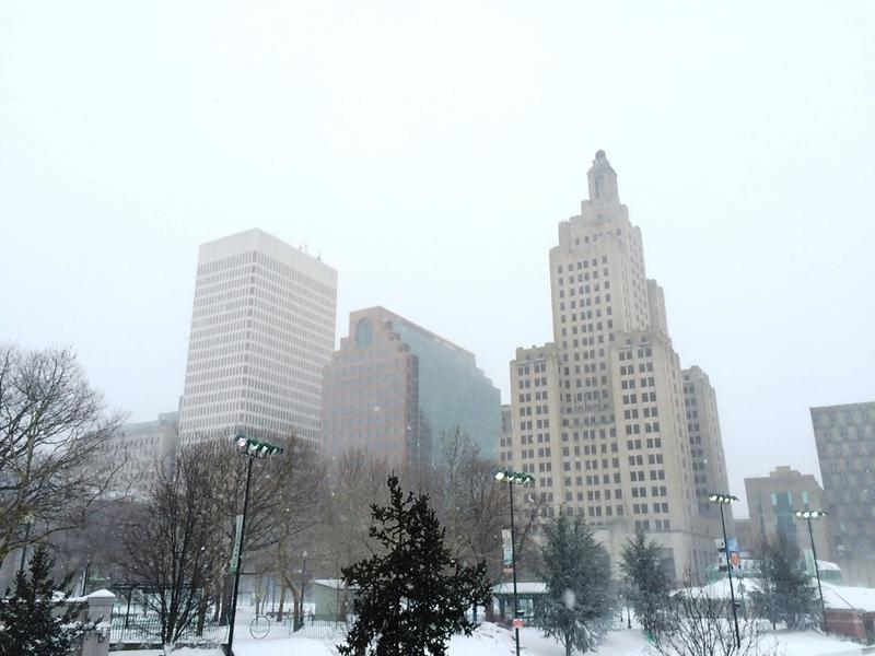 The snowy skyline of downtown Providence