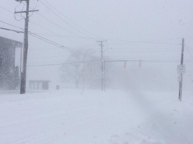 The blizzard blowing in Rumford on Newman Ave Tuesday morning