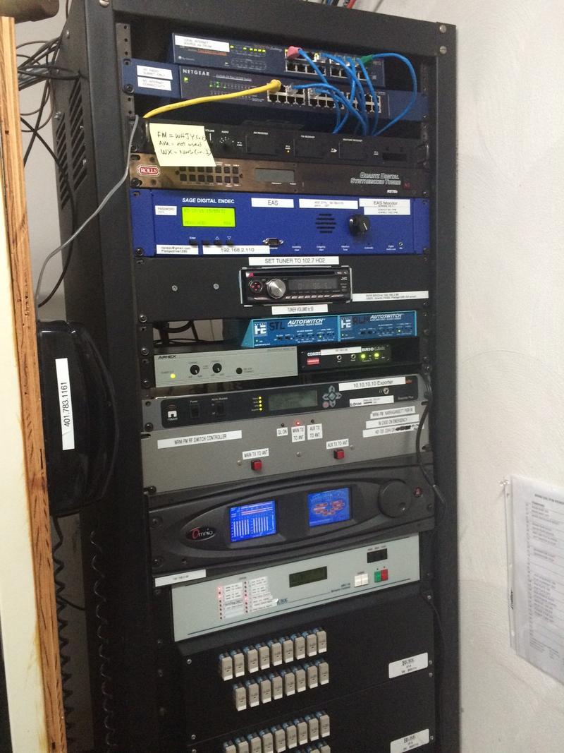 WRNI-FM utility rack