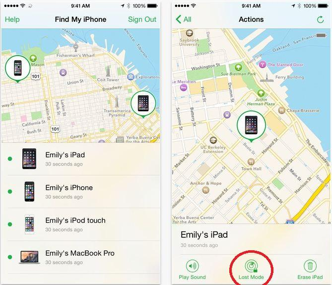 Lost mode in Find My iPhone
