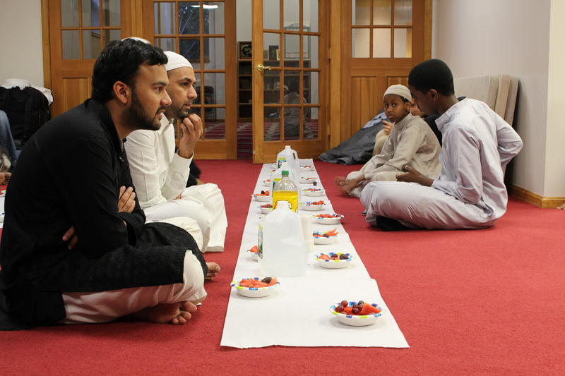 The mosque hosts iftars, the evening meals meant to break fasting. Muslims usually break their fast by eating dates first.