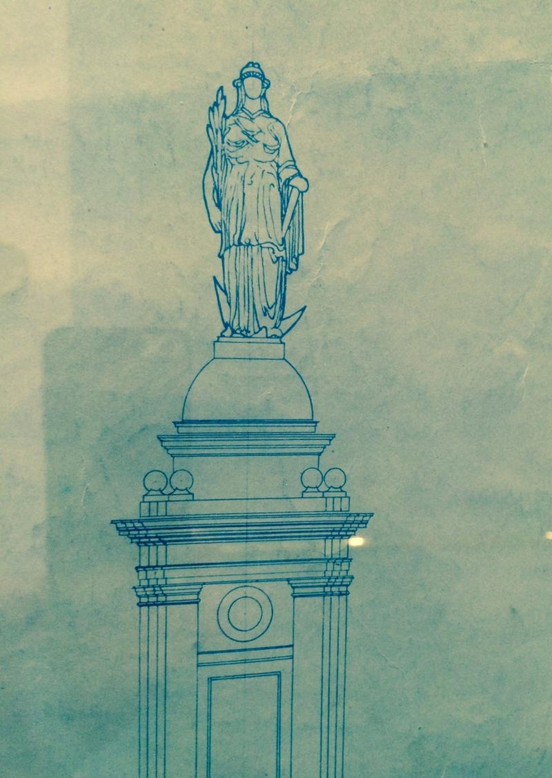 "A sketch of the ""Independent Woman,"" from early sketches for the RI Statehouse"