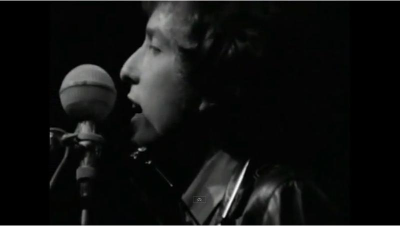 "Close up of Bob Dylan as he sang 'Like a Rolling Stone"" at the Newport Folk Festival in 1965"