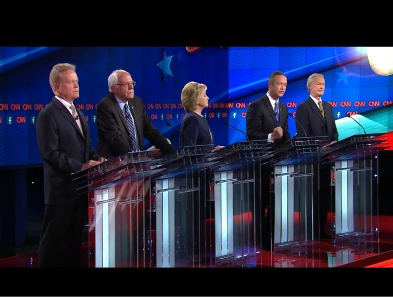 The five Democratic candidates during the first Democratic debate on CNN.