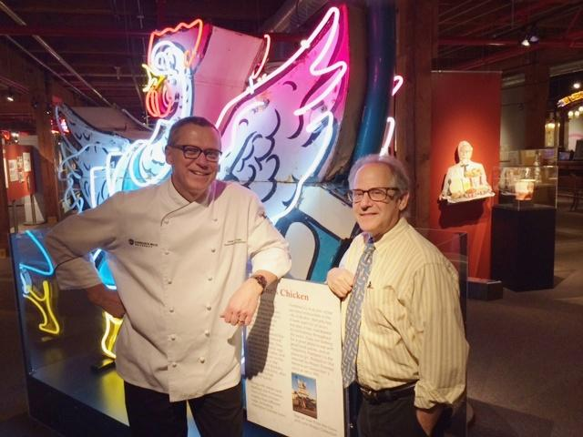 JWU culinary arts professor Peter Kelly (L) with culinary museum curator Richard Gutman