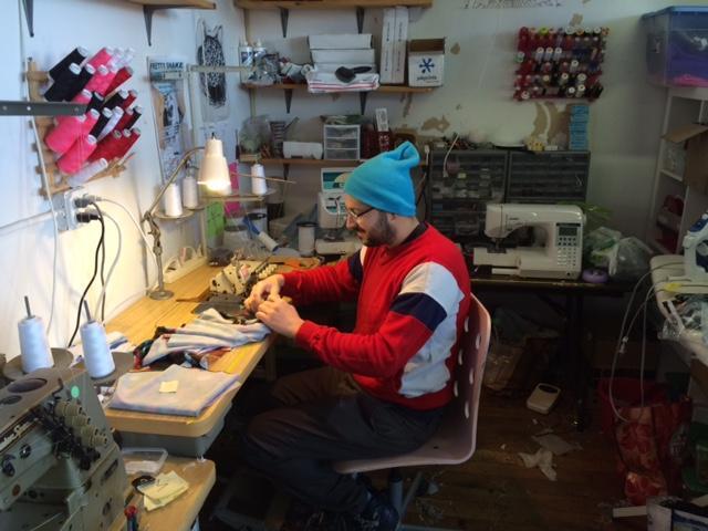 Segal working on skirt.