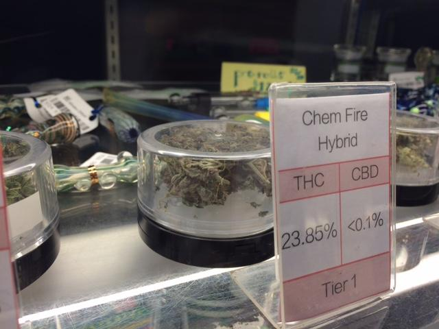 One of Greenleaf's 30 strains of medical marijuana on display