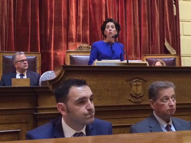 Governor Raimondo delivers her second State of the State address, as House Speaker Nicholas Mattiello looks on.
