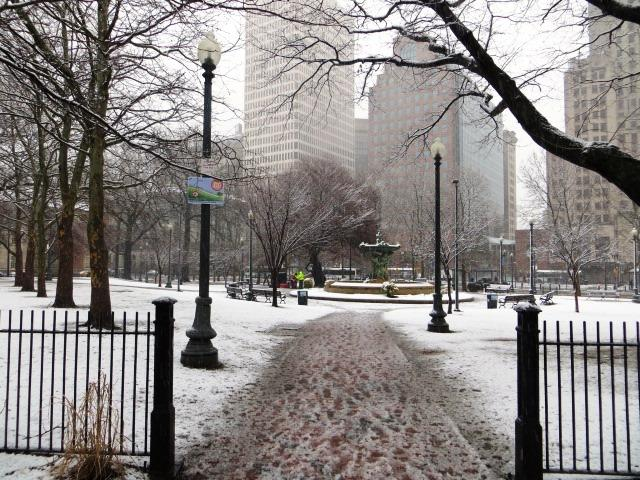 Snow blankets Burnside Park in downtown Providence