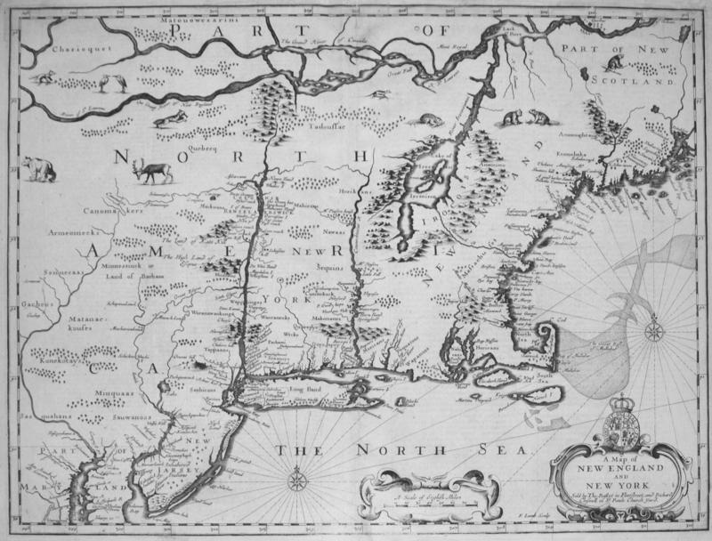 Map detailing the New England slave trade