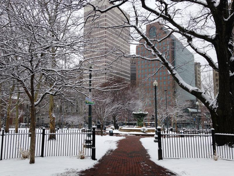 Downtown Providence on Monday, March 21st, the second official day of Spring.