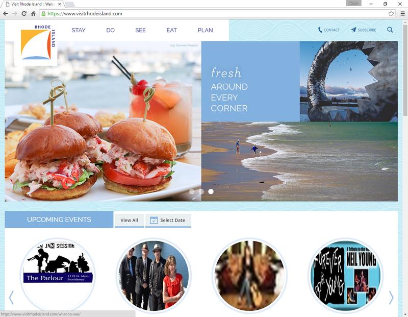 Screen capture of VisitRhodeIsland.com