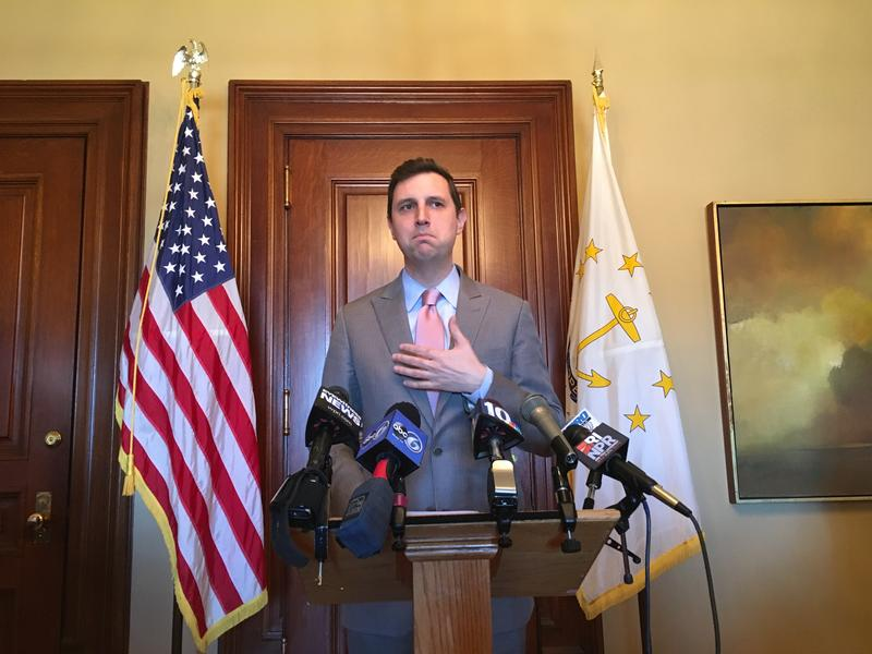 State Treasurer Seth Magaziner at at press conference Thursday