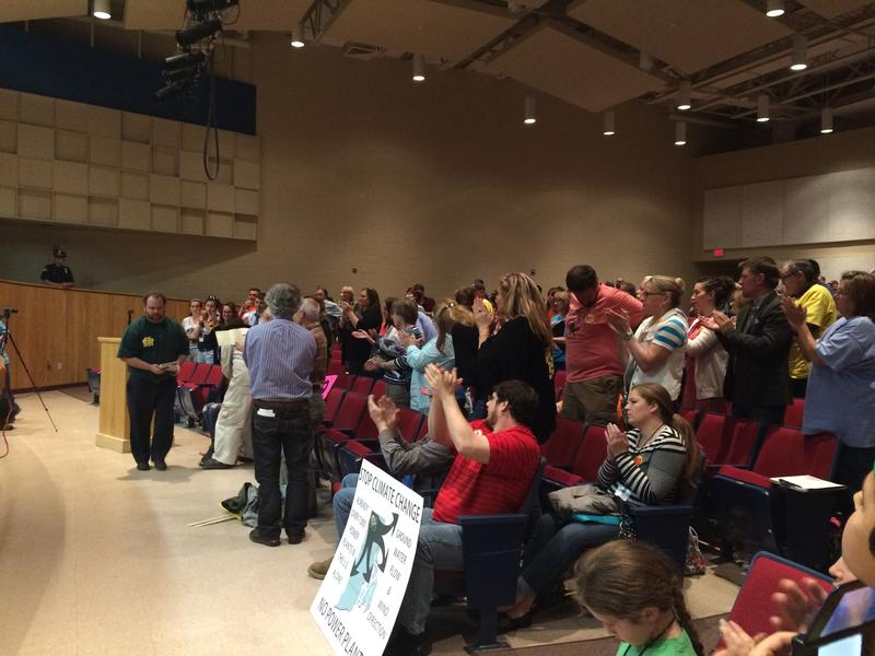 State Rep. Cale Keable and State Sen. Paul Fogarty each received standing ovations after they testified against the proposed power plant in Burrillville at the third public hearing for the project.