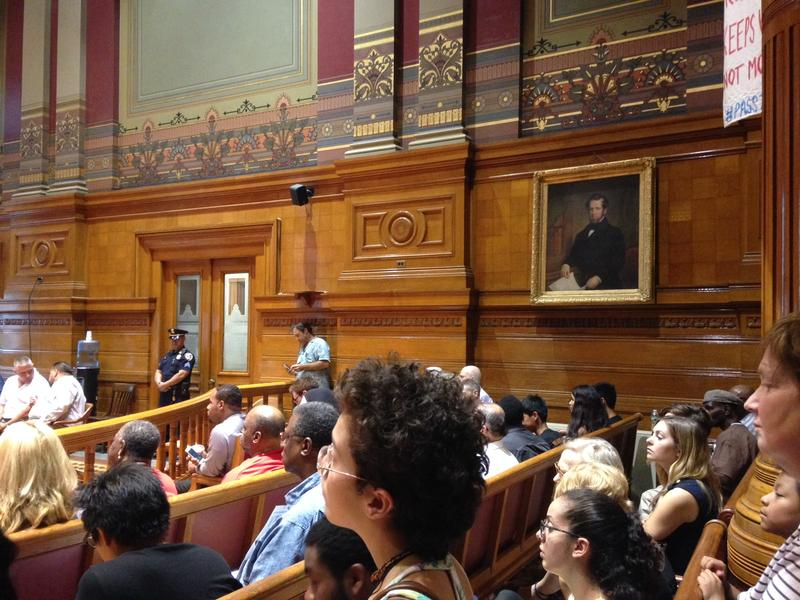 Supporters of a new police ordinance attended a hearing Wednesday at Providence's City Council Chambers.