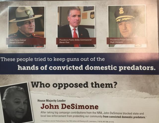 This is one of the mailers sent by RI For Gun Safety targeting House Majority Leader John DeSimone.