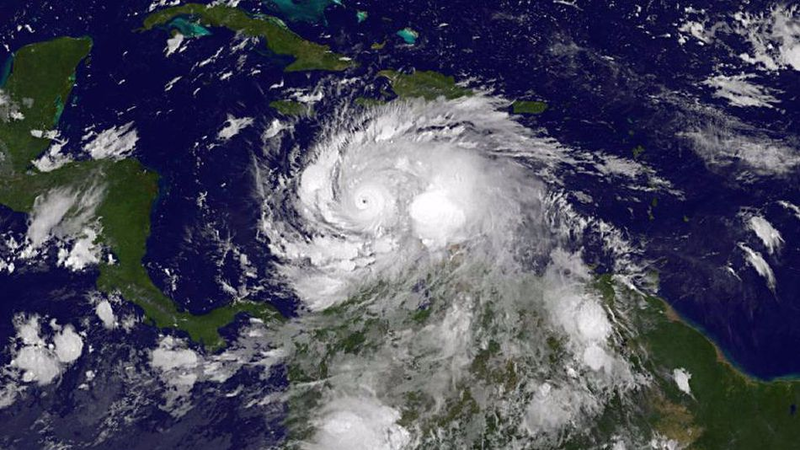 A satellite image of Hurricane Matthew.