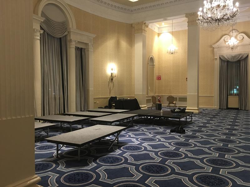 An empty Biltmore Hotel ballroom, the normal gathering place for local Democrats, as it became apparent Donald Trump was winning.
