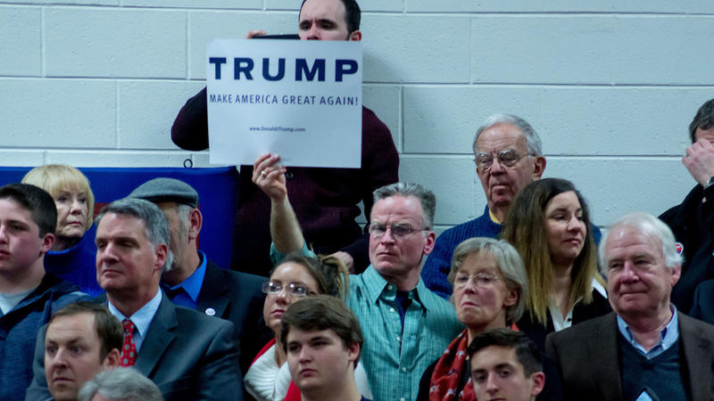 A Trump supporter at a rally in New Hampshire