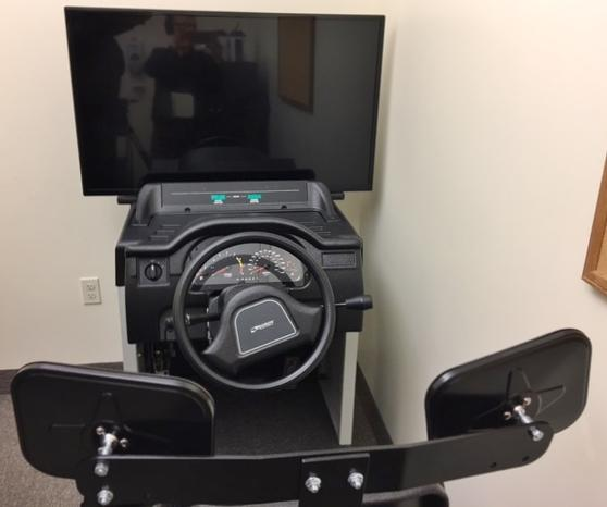Driving simulator at Lifespan's occupational therapy clinic.