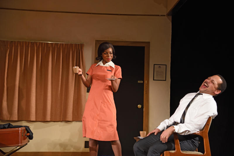 "Mia Ellis as Camae and Joe Wilson Jr. as Dr. King in Katori Hall's ""The Mountaintop"""