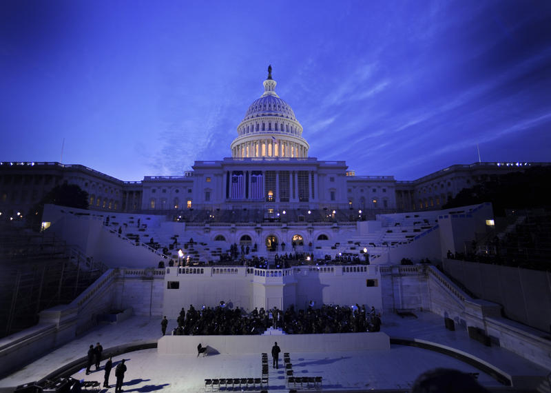 a view of the Capitol Building in Washington, D.C. as staff prepare for the presidential inauguration.