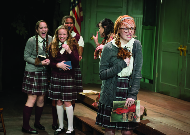 Front: Kate Fitzgerald (Lincoln School) as Rosalie Wells. Background L to R: Abigail Klipfel (Moses Brown School) as Lois Fisher, Ally Gower (Moses Brown School) as Catherine, Evelise Gomez (E-Cubed Academy) as Peggy Rogers, Casey Seymour Kim as Aunt Lily