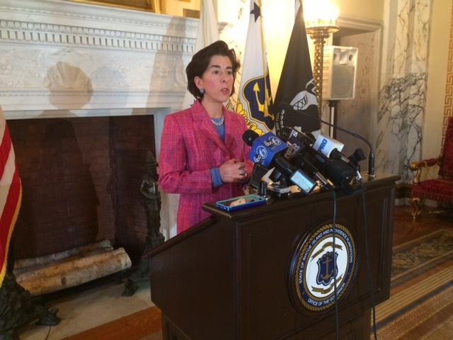 Governor Raimondo during a Statehouse news conference.
