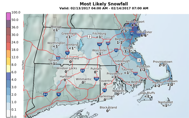 Expected snow for Monday.
