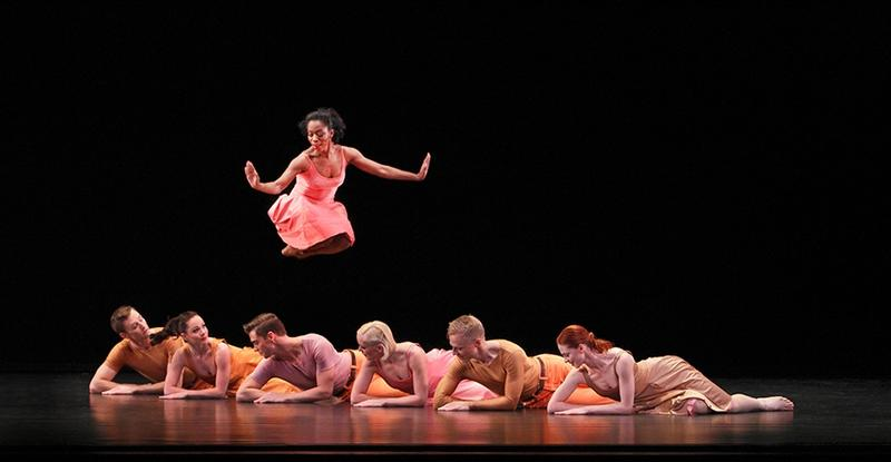 "Paul Taylor Dance Company performing ""Esplanade.""  Michelle Fleet with (L-R) James Samson, Eran Bugge, Michael Novak, Aileen Roehl, Michael Trusnovec, and Heather McGinley."