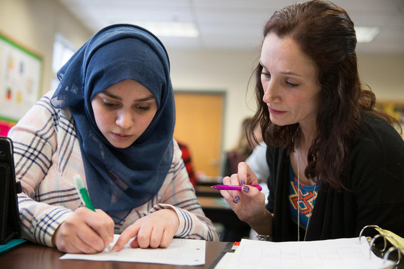 Ghena works on math schoolwork with her guided study teacher Karen Stark. Of the 1,000 students who go to St. Johnsbury Academy, Ghena and her brother are the only two who speak Arabic.