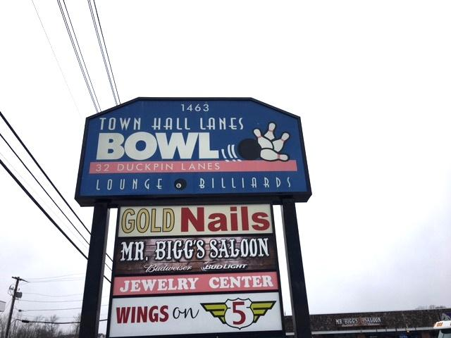 Town Hall Lanes' sign