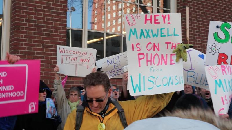 Rhode Island protestors demanding Ryan meet with his Wisconsin constituents.