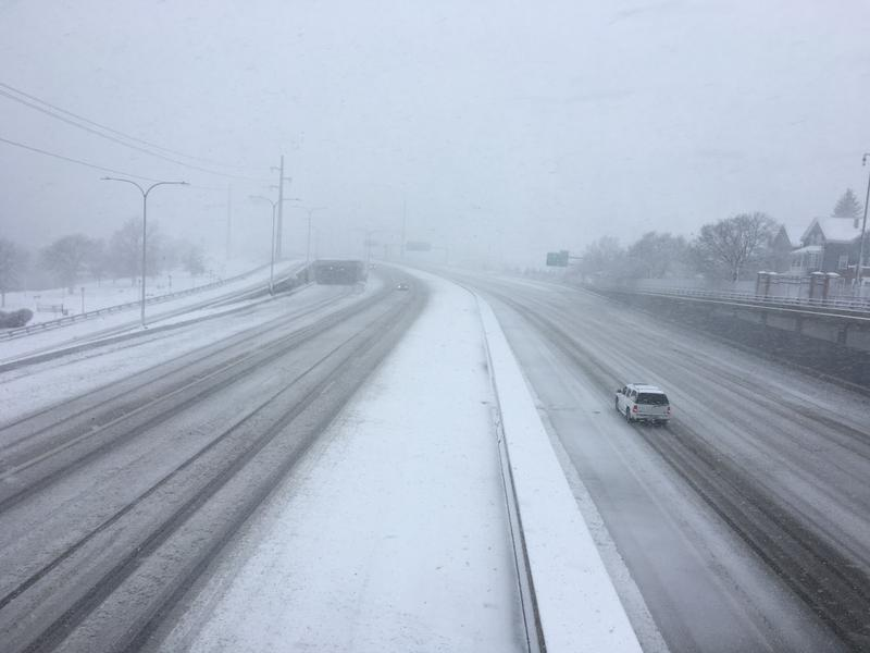 A snowy, and practically empty, stretch of highway in Providence