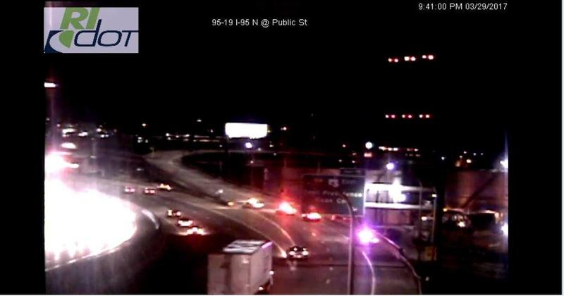 Rhode Island Dept. of Transportation photo of traffic held up by gas leak Wednesday night.
