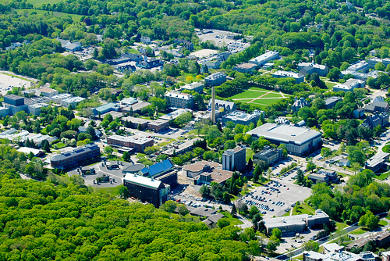 Aerial shot of the University of Rhode Island campus