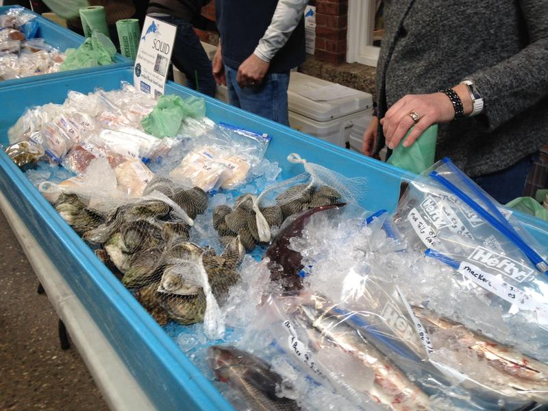 Fish on display at the Local Catch table at the Pawtucket Farmer's market