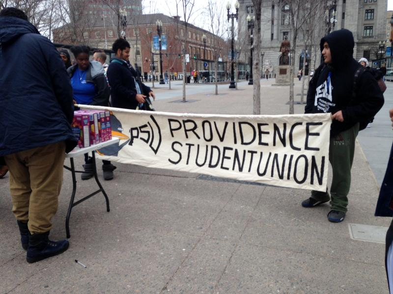 Providence Student Union demonstrators in downtown Providence