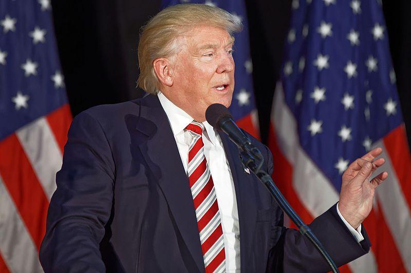 Donald Trump speaking in Aston, Pennsylvania.