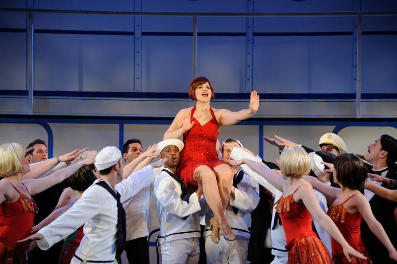 Jessica Wagner (center) stars as Reno Sweeney in the Cole Porter classic, 'Anything Goes,' at Ocean State Theatre in 2016.
