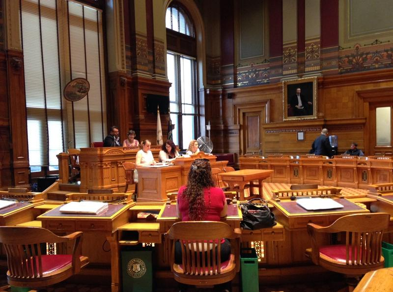 Providence City Council President Luis Aponte presiding over a nearly empty city council meeting. Councilwoman Carmen Castillo (center) was the only other councilor to show up to the meeting.