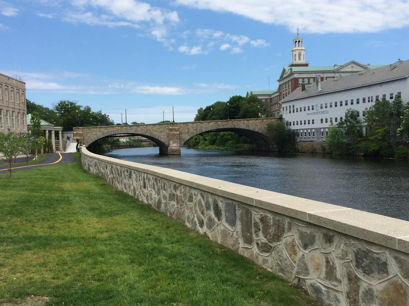 The Blackstone River winding through downtown Pawtucket, where the PawSox want to build a new stadium.
