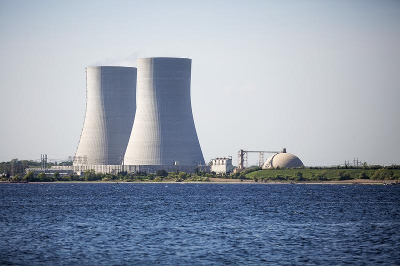 The twin cooling towers at Brayton Point Power Station in Somerset, Mass.