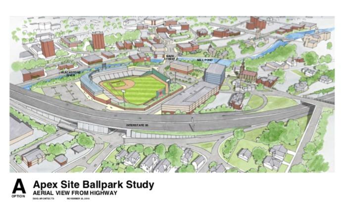 A rendering for the PawSox' envisioned Pawtucket stadium.