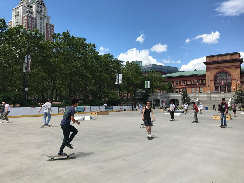 Skateboarders ride in downtown Providence Wednesday for National Go Skateboarding Day.