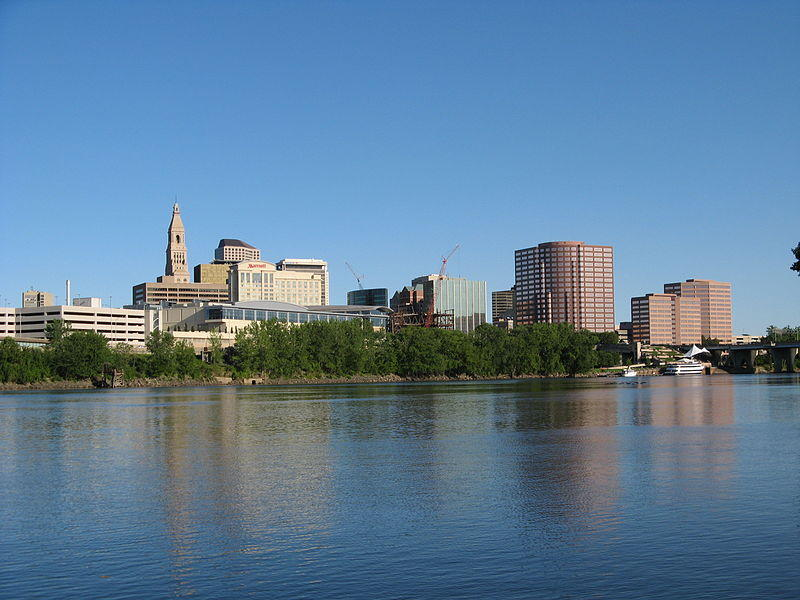 The skyline of Hartford, Connecticut, USA as seen from across the Connecticut River.