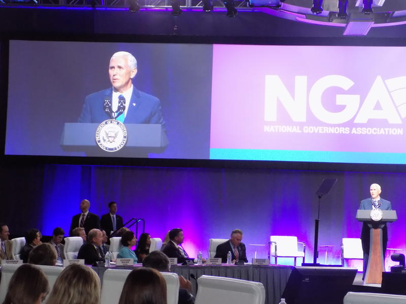 Vice President Mike Pence speaking to governors and press.