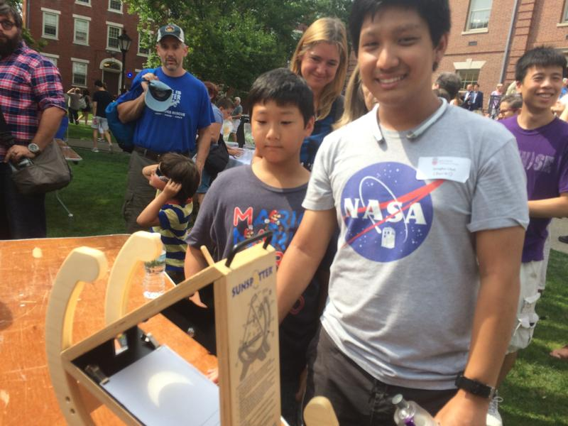 Jungho Choi, a student at Brown University, demonstrated how to use this low-tech telescope called a sunspotter.